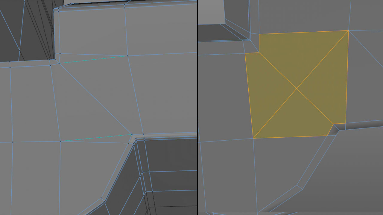 This example shows the n-gons created by adding sharpening cuts to two opposing concave corners, and the all quad solution using a single diagonal cut.