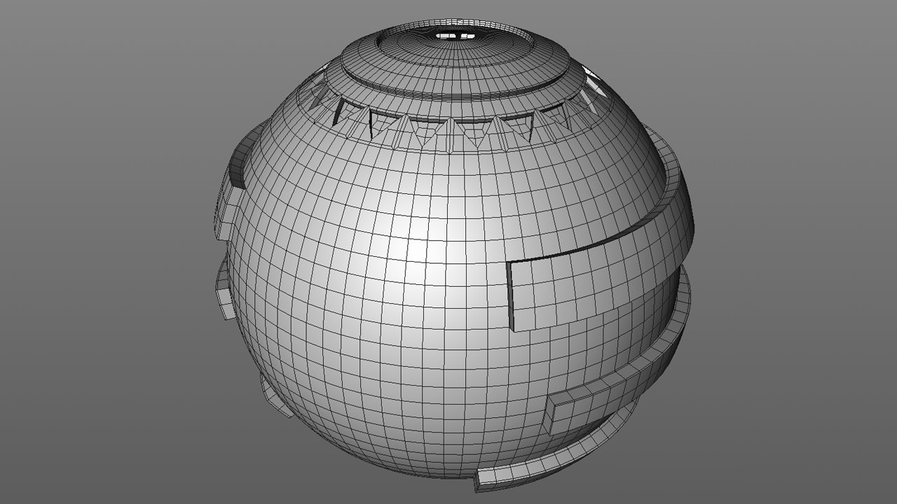 Filling the gaps was easily done by selecting polygons on the sphere and extruding. I removed the polygons from the top and bottom of the sphere as they aren't seen in the final model.