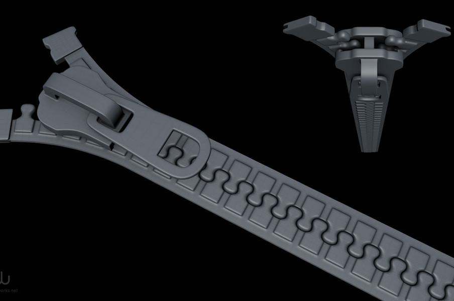 The zipper teeth were created using a Mograph Cloner Object.