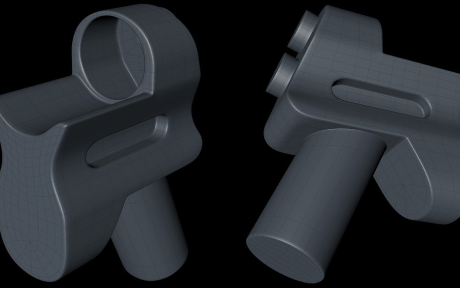 A more finished version, including the cylindrical extrusions.
