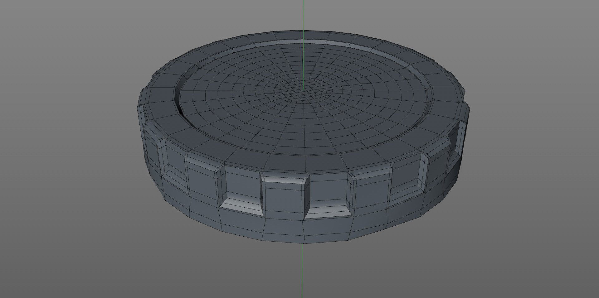 One section of the cap modelled then duplicated using an Array object.