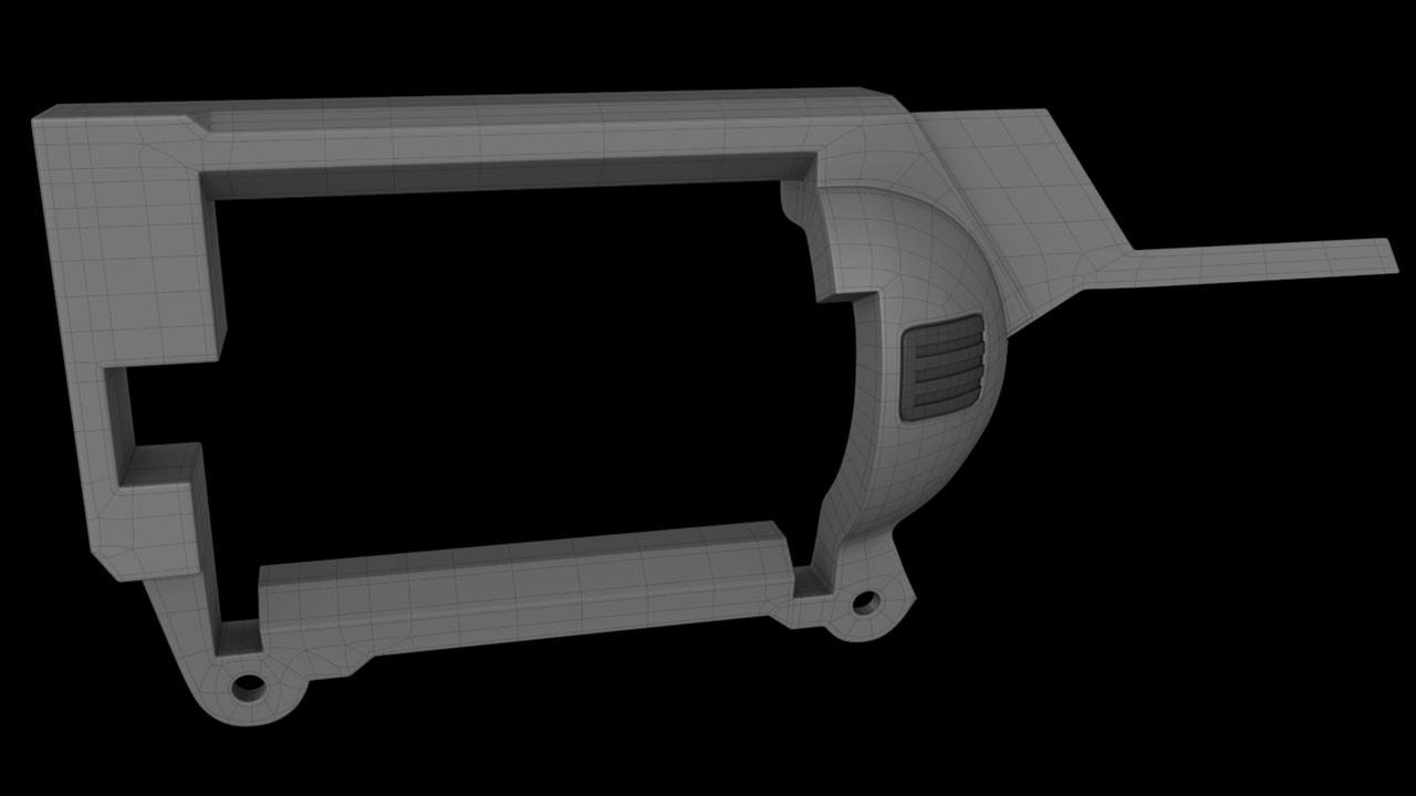 Although the main body of the Nerf gun is a single object, the plastic has insets that make it appear to be constructed of more than one section. Rather than recreate the faux detail I decided to split the model into the actual sections. This had the added benefit of making it easier to sharpen the sections individually rather than as a single object.