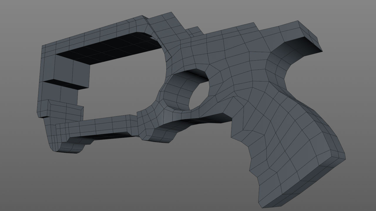 Once the base topology is in place the next step is to extrude and drop into a Symmetry object.