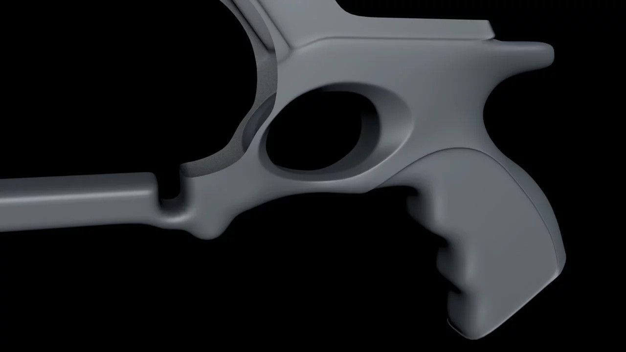 Detail starting to emerge after a few control cuts and extrusions, smoothed inside a Subdivision Surface object.