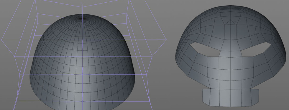 Starting again using the Shrink Wrap workflow to ensure all of the lumps and bumps were squashed. This workflow allows me to focus on creating the correct topology without worrying about the smoothness. The template is a half sphere reshaped using an FFD Deformer.