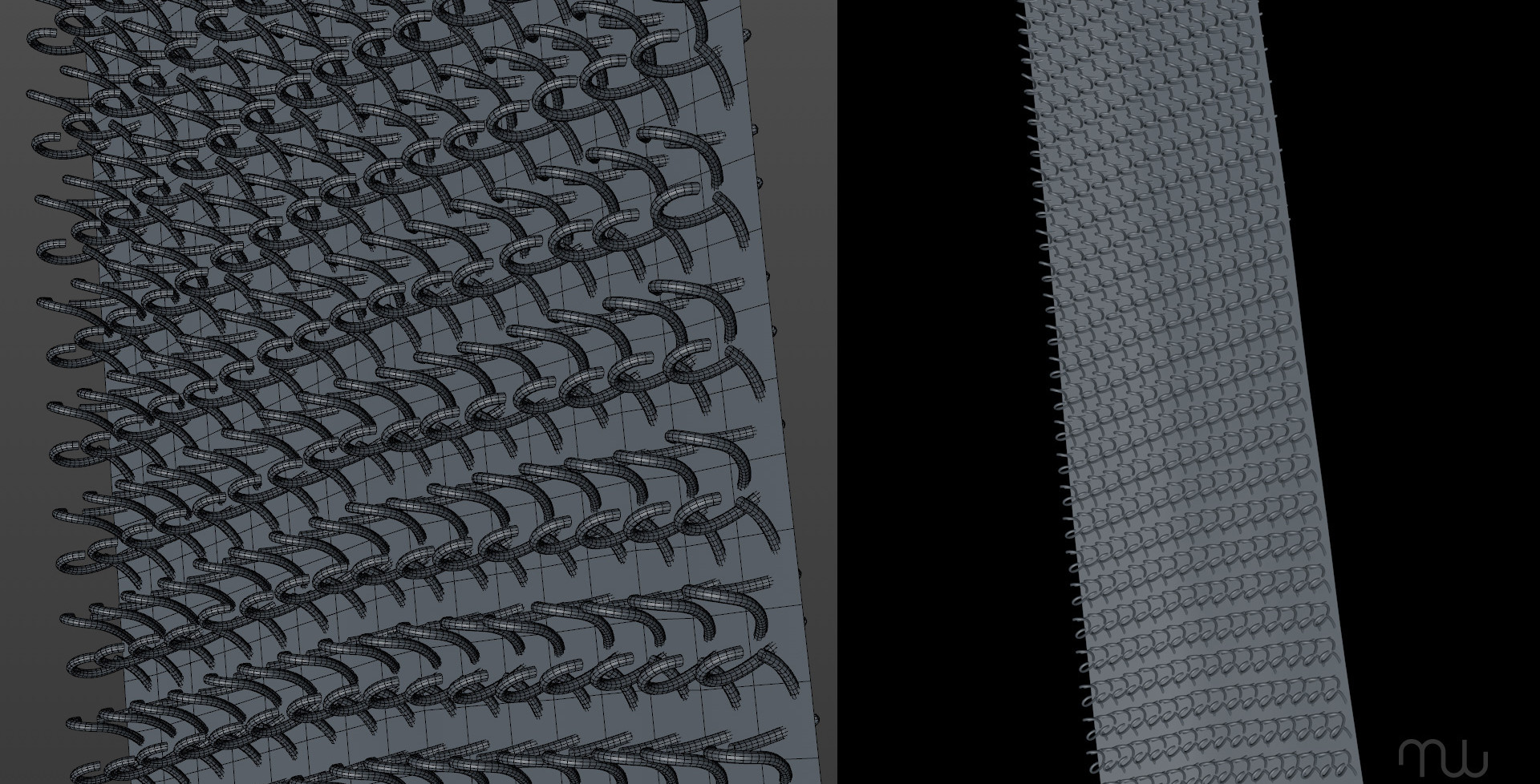 Used Mograph Cloner object with Step and Random effector to create velcro hooks.