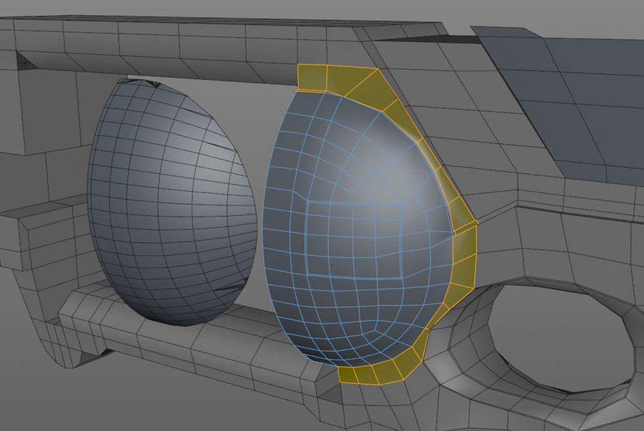 Added a booled capsule section to retopo onto using the Polygon Pen tool in conjunction with the Shrink Wrap deformer. In this image I've shifted the boole geometry to the side for comparison with the new geometry. Note how I had to split the surrounding geometry off of the main geometry in order to get good results with the Shrink Wrap deformer.