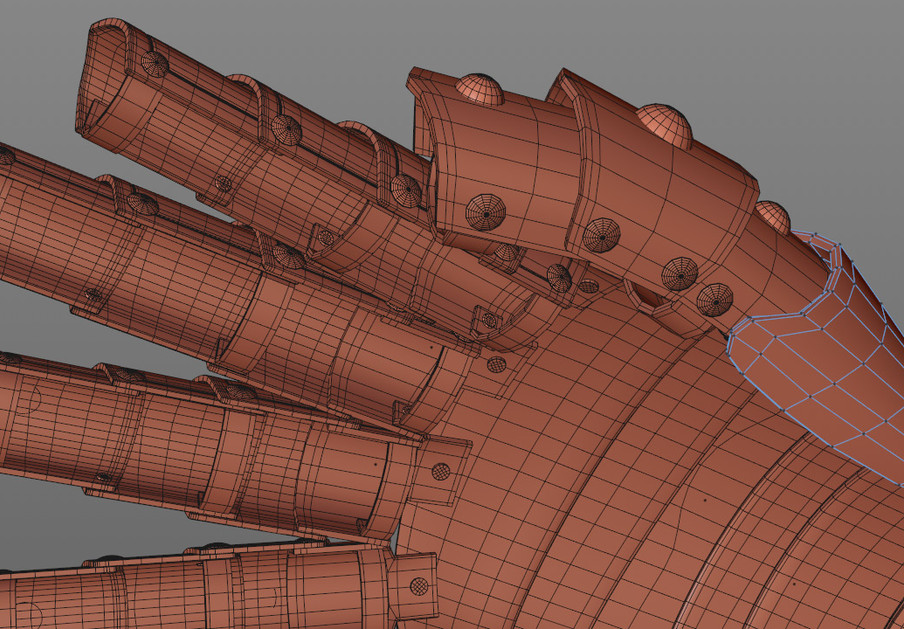 The thumb uses parts of the existing finger geometry and a new section that attaches to the gauntlet.