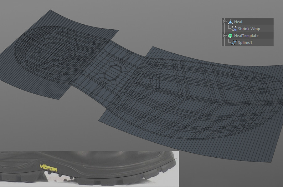Using splines with an Extrude object as a target to the Shrink Wrap deformer.
