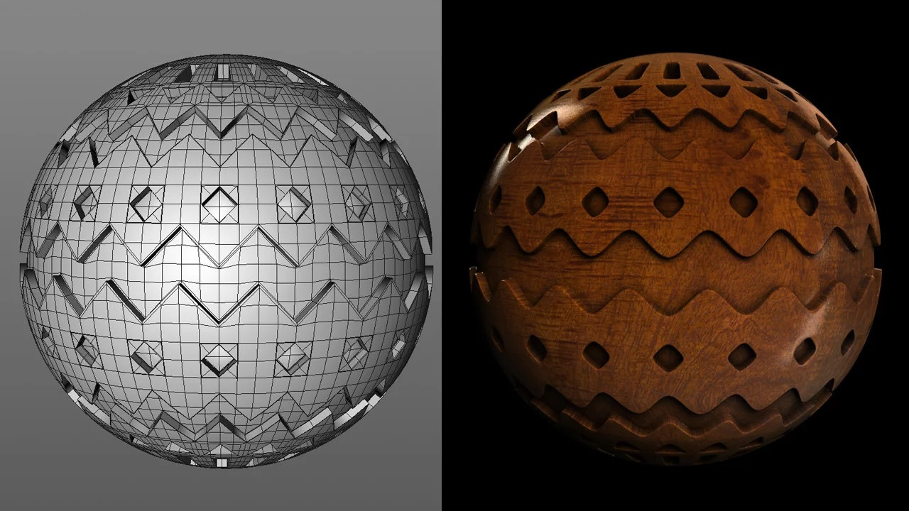 This chevron ball is another example of the kinds of details you can add using a radial symmetry workflow.