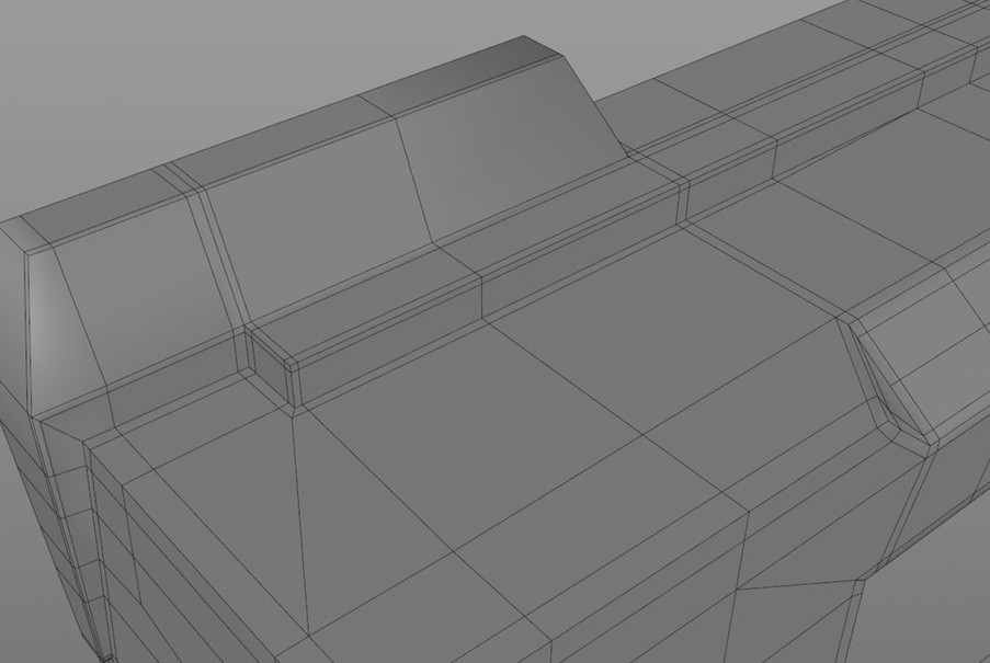 The site was created by adding cuts into the main gun section, extruding and working in symmetry of course!
