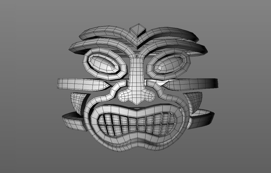 This was then converted to polygons once more with the various elements extruded using the Extrude tool, control cuts added then subdivided with a Subdivision Surface object.
