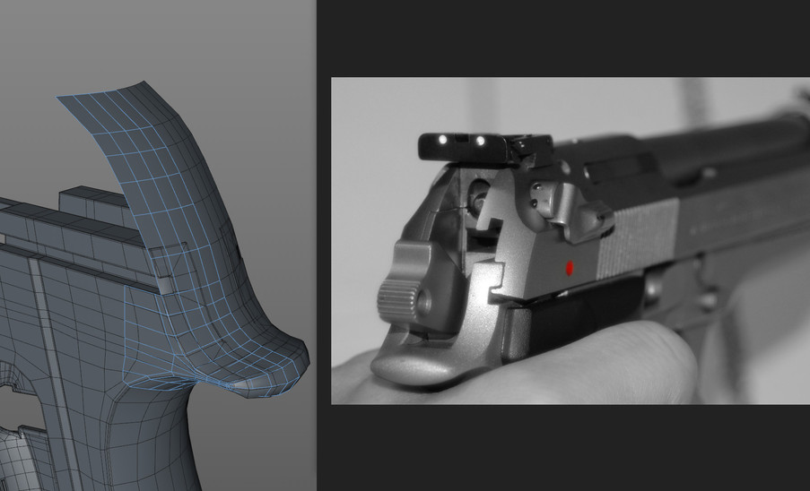 I neglected to consider how the slide around the trigger area is machined to fit with the frame. So rather than trying to eyeball the slide separately I've split off that area to rework it as one piece, which I'll reattach to the existing geo.