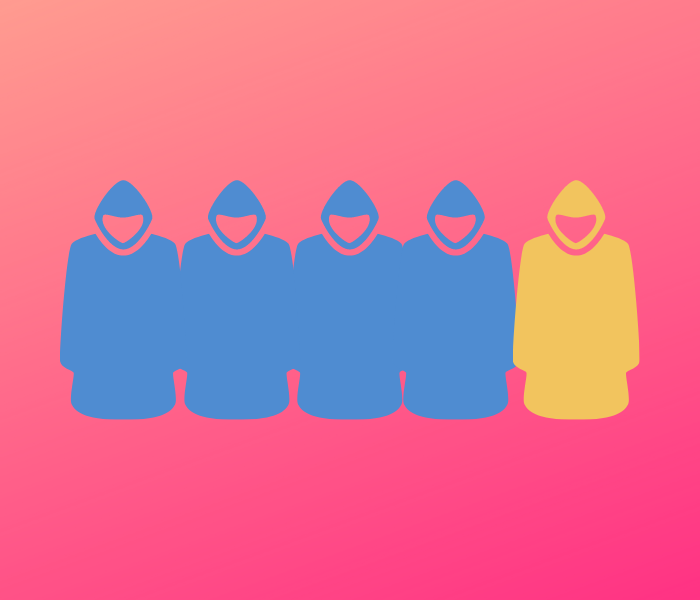 four people in blue cloaks and one in yellow cloak in front of a gradient background of red to orange
