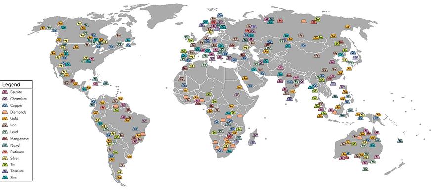 世界採礦分佈圖 World Mining Map