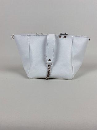 Le Mini M cuir lisse blanc