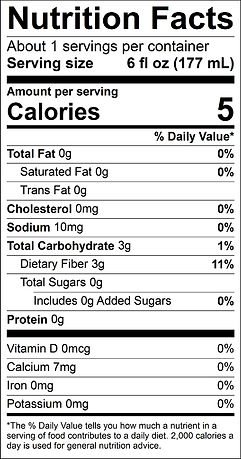Flavored Water Nutrition Label (1 pouch)