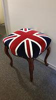 Union jack upholstered stool