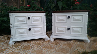 Re-finished bedside tables (ruby glass handles) by Vintage Lives