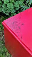 Hand painted bedside table (Spider design) by Vintage Lives