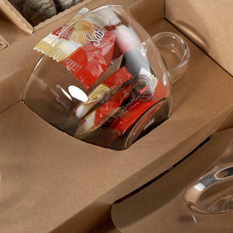Glas verpacken, Detailaufnahme Geschenkkoffer