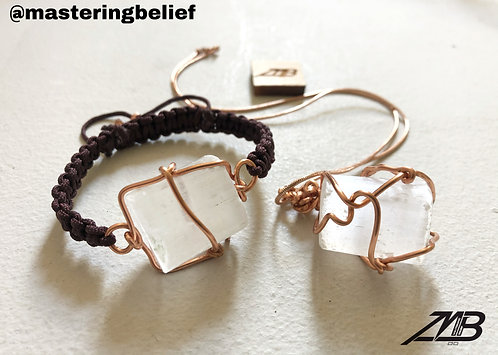 Selenite Bracelet & Necklace Set