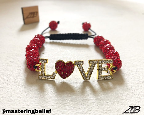 Love Plated Adjustable Bracelet (Red Beading)
