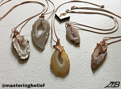 Agate Necklaces (Copper Plated Rope)