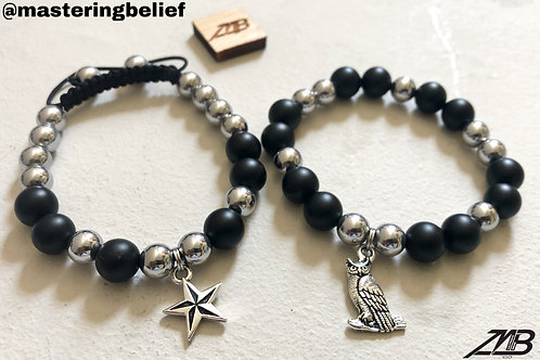 """Star Owl"" Black Obsidian & Hematite Beaded Bracelet Set"