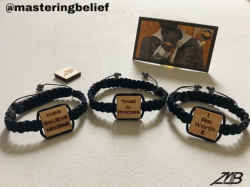 Adjustable Affirmation Engraved Bracelets (Black on Black)