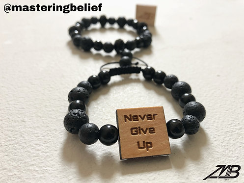 Never Give Up Black Beaded 2 Piece Set