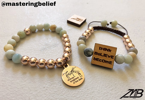 tHiNk BeLiEvE bEcOmE w/ Faith (Amazonite) 2 Piece Set
