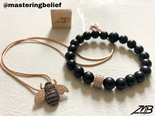 Bumble Bee Rose Gold Necklace & Bracelet Set