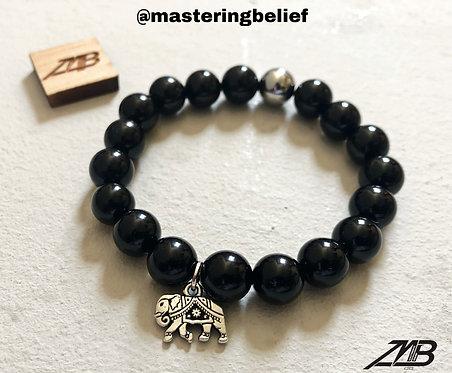 Elephant Charmed Obsidian Beaded Bracelet