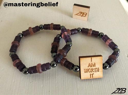 I Am Worth ItBeaded Bracelet Set (Purple)