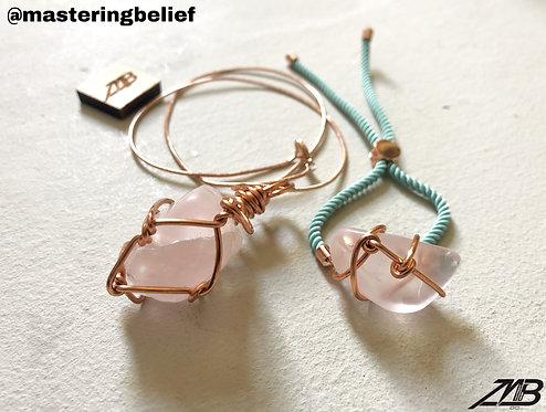 Rose Quartz Bracelet& Necklace Set