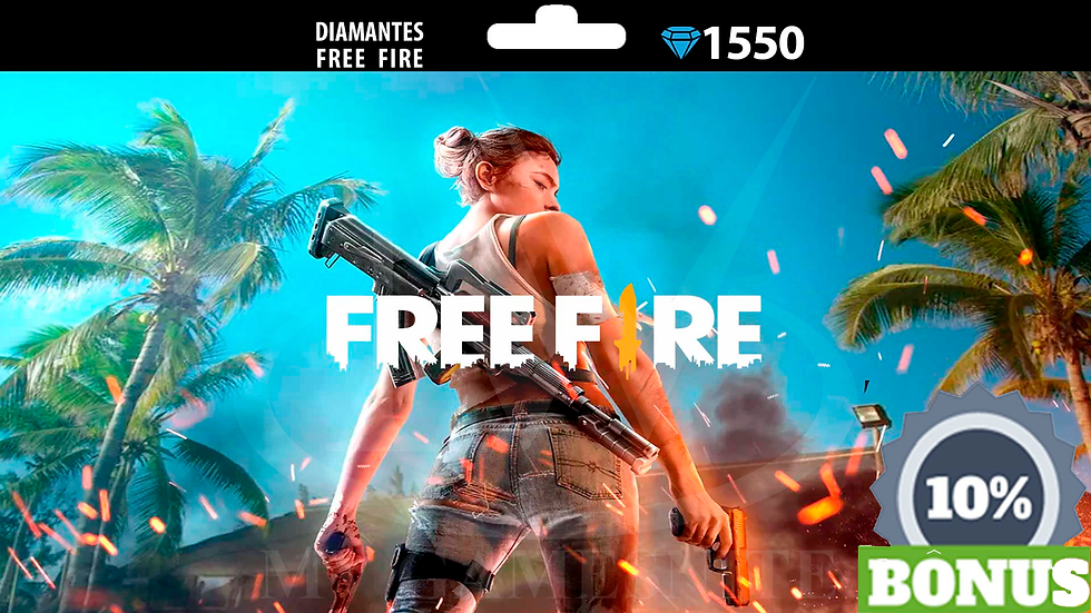 Free Fire 1550 Diamantes + 10% Bônus