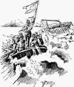 A Boston Post illustration from 1896 shows the crew of the ill-fated Monte Tabor.