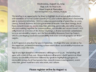Public Invited to Maui Sustainability Briefing