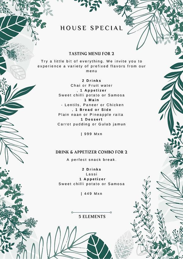 5 Elements Restaurant Menu - House Speci