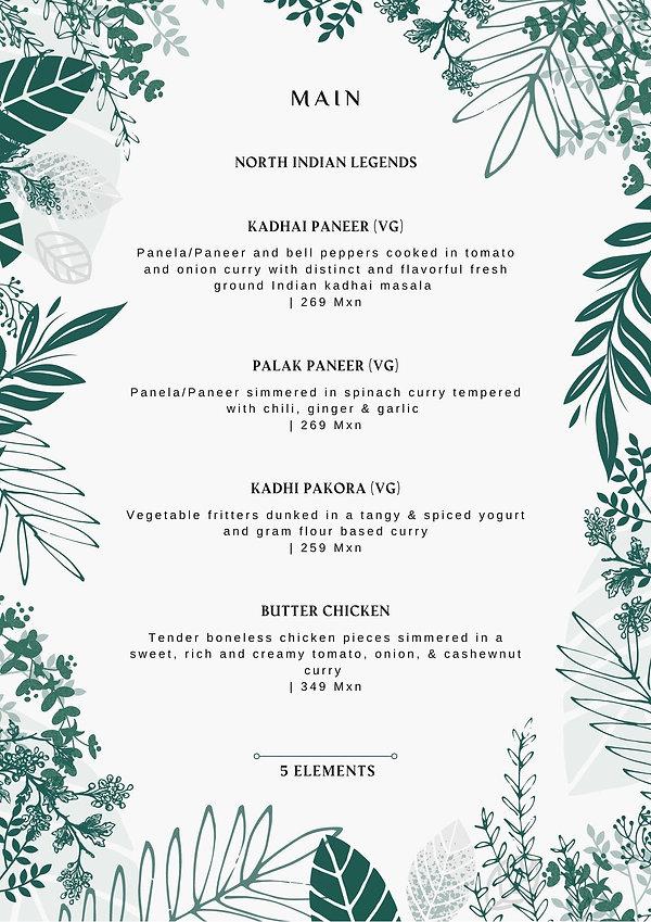 5 Elements Restaurant Menu - North India
