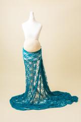 teal maternity photoshoot dress