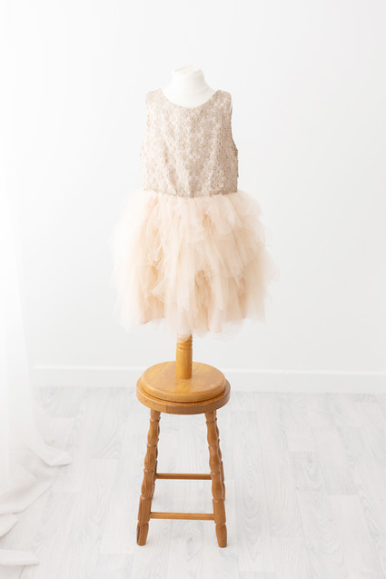 girls gold frilly dress for photoshoot near skipton yorkshire