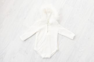 white fluffy hooded romper 6-9 months unisex, baby photoshoot