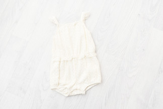 cream lace romper for sitter photoshoot