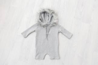 grey hooded sitter baby romper 6-9 months for photoshoot