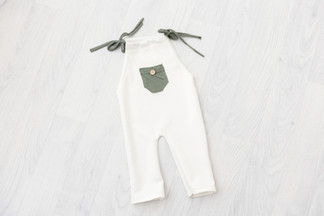 green and cream baby romper 6-9 months for baby photoshoot
