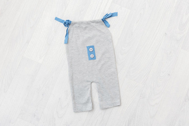 grey and blue baby romper 6-9 months sitter session