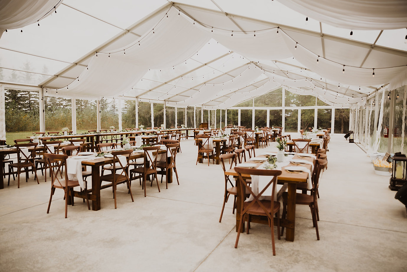 alberta tent wedding venue farmhouse tables