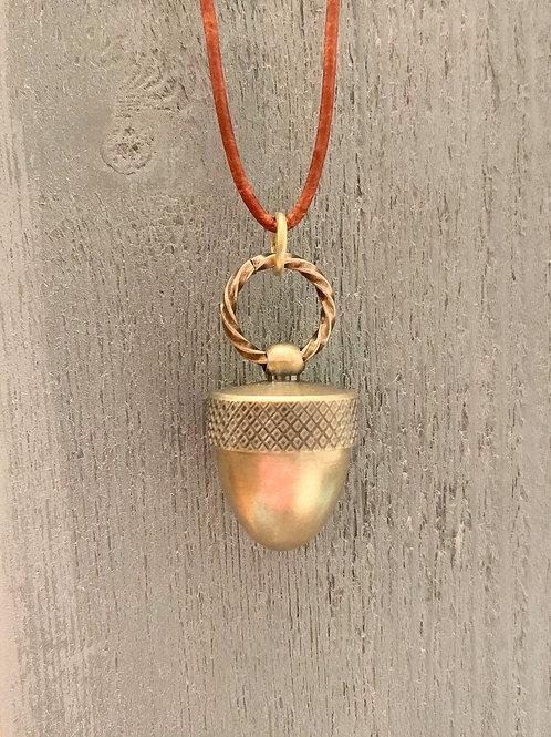 Brass Acorn Vial Pendant